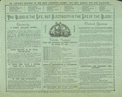 Advert For Dr. Lowder's Magneto-Electric Battery reverse